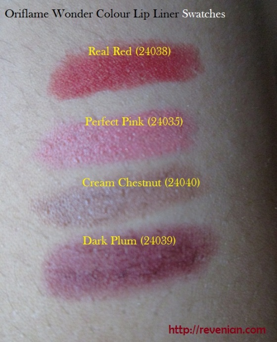 Oriflame Wonder Colour Lip Liners Swatches