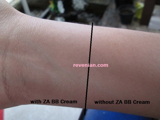 with and without ZA BB Cream