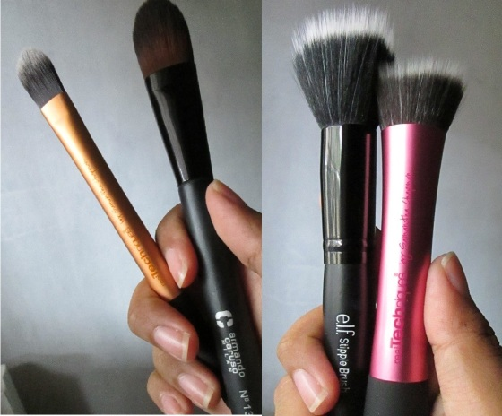 Foundation Brushes - Tapered Brush (left), Stippling Brush (right)